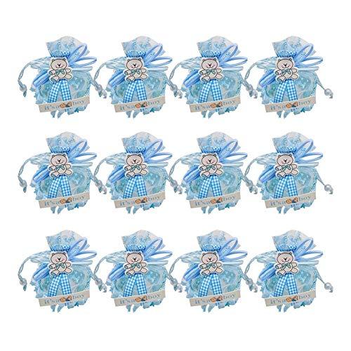 12pcs / lot de los niños decoraciones de la caja del caramelo del rosa del oso y fiesta de cumpleaños de la caja azul del muchacho de la niña de regalo Suministros Presents ( Color : 12pcs Blue Bear )
