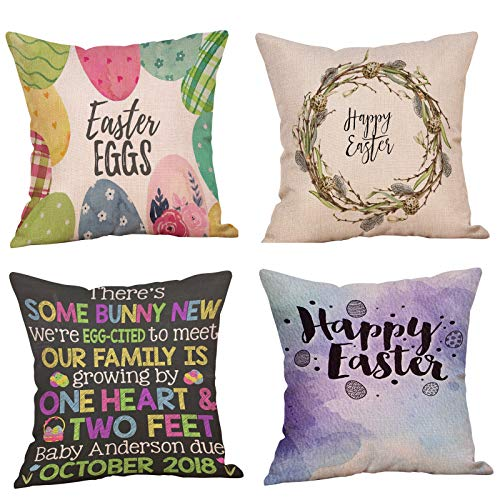 Easter Print Cushion Covers,Contemporary Stylish Pillow Case,Throw Pillow Cover,Pillowcase Cushion Covers,Easter Printing,Home Decorative Case for Sofa Color Pillow Case,45cm x 47cm