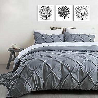 Auelife Queen Duvet Cover Set, 3pc Grey Pinch Pleat Pintuck Bedding Set with Corner Ties and Zipper