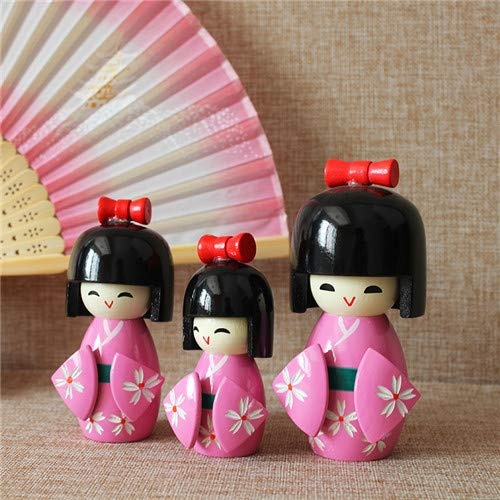 Houseuse Japanese Kokeshi Wooden Doll Girl Ornament Kimono Pink 3 PCS in 1 Set