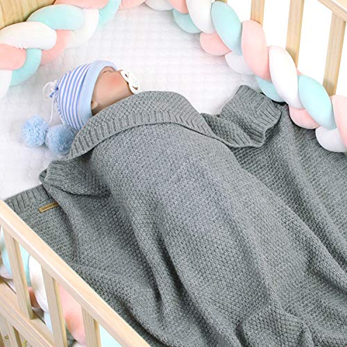 Baby-Decke für Jungen und Mädchen, gestrickt, gehäkelt