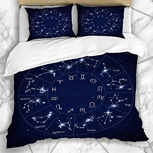 Soefipok Conjuntos de Funda nórdica Escorpio Horóscopo Zodíaco Constelación Mapa Leo Virgo Universo Astrología Estrella del Cielo Capricornio Cosmo Microfibra Ropa de Cama con 2 Fundas de Almohada