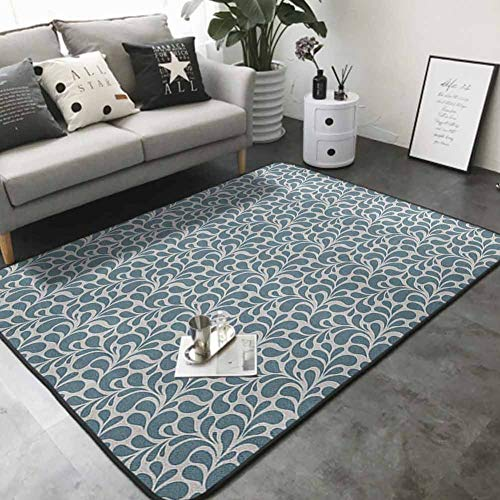 Living Room Bedroom Carpets Dark Colored Leaves with Curvy Swirly Design Nature Inspired Ornament 80'x 120' Contemporary Synthetic Rug