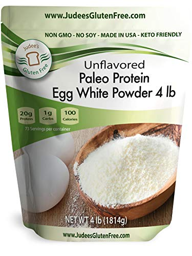 Judee's Egg White Protein Powder (4 lbs) Keto, Non GMO, Dairy Free, Soy Free. 20g Protein Per Serving. Smoothies, Baking, Meringue, Royal Icing. Dedicated Gluten & Nut Free Facility, Made in USA