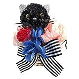ハロウィン 黒猫カフェカップ アートフラワーアレンジ くろねこ 造花 カーネーション かわいい おしゃれ 誕生日 母の日 記念日 七夕 お見舞い 発表会 還暦 HZD-8310