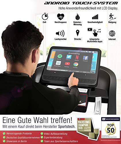 51rUEQNlCrL - Sportstech F50 - Cinta de correr profesional con gran pantalla táctil LCD de 18,5pulgadas y sistema operativo Android, más de 18km/h, soporte para tableta, conexión USB y Wi-Fi, función autolubricante, pendiente del 15% y tamaño compacto y plegable