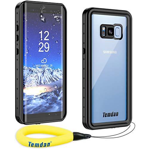 Temdan Kompatibel mit Samsung Galaxy S8 Hülle, Wasserdicht Stoßfest Transparent 360 R&umschutz mit Eingebautem Bildschirmschutz TPU Bumper Handyhülle für Samsung Galaxy S8 (5,8 Zoll) (Schwarz)
