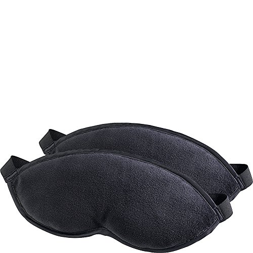 Lewis N. Clark Comfort Eye Mask + Sleep Aid to Block Light for Travel, Airplane, Hotel, Airport, Insomnia + Headache Relief with Adjustable Straps, 2 pack, Black