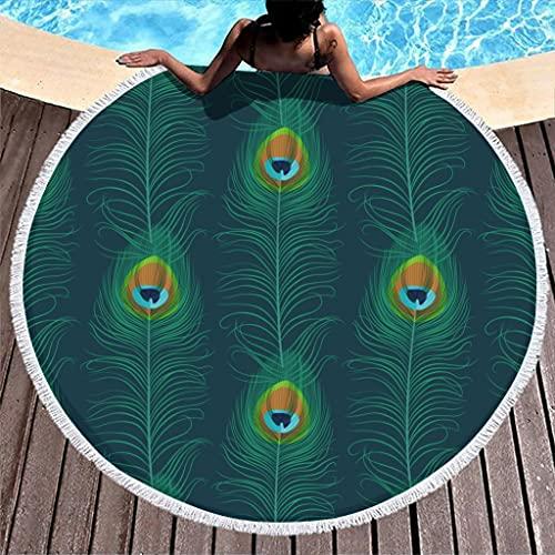Toalla de playa redonda con plumas de pavo real, de microfibra, ligera, para playa, picnic, playa, yoga, para dos personas, color blanco, 150 cm