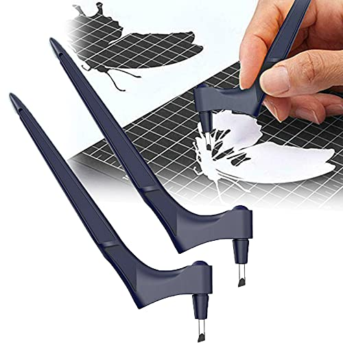 1/2Pcs Craft Cutting Tools, Stainless Steel Craft Knives with 360-degree Art Cutting Tool for Craft, Hobby, Scrapbooking, Stencil (2Pcs)