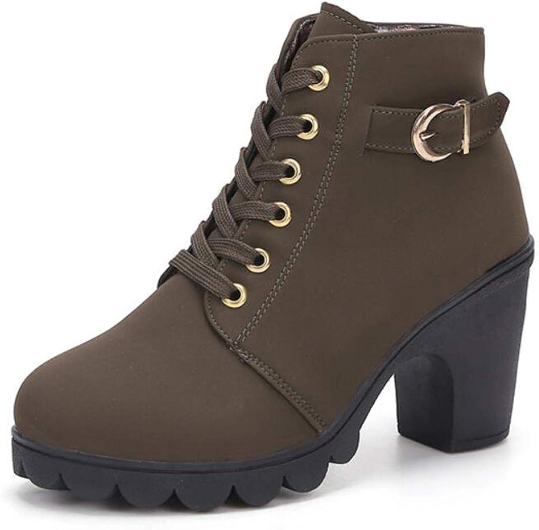 Women's Boots Autumn Boots Round Head Thick with Side Zipper Joker Martin Boots Metal Women's Boots