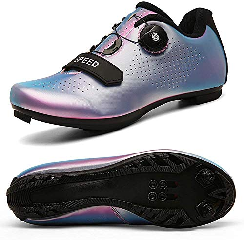 VIPBQO Zapatos de ciclismo para hombre Spin Shoestring con zapatos Peloton compatibles con SPD y Delta para hombres Lock Pedal Bike Shoes, color Negro, talla 42 2/3 EU