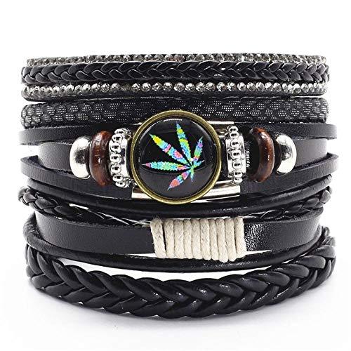 Leathers Bracelets For Men Women Vintage Leaf Weed Charm Bracelet Bangle VQ