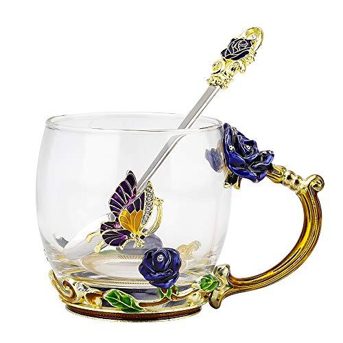 COAWG Glasteetasse, Emaille Blue Rose Blüten Schmetterlingsbecher Kristallglas Klare Tasse Blumen Blumenglas Kaffeebecher mit Handgriff für Frauen, Valentinstagsgeschenk 330ml