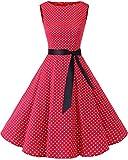 Bbonlinedress 50s Retro Schwingen Vintage Rockabilly Kleid Cocktail Faltenrock Red Small White Dot L