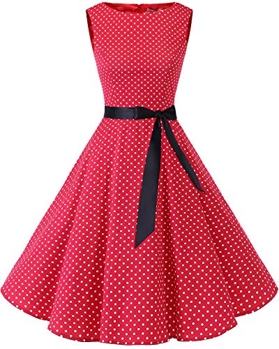 Bbonlinedress 50s Retro Schwingen Vintage Rockabilly Kleid Cocktail Faltenrock Red Small White Dot L