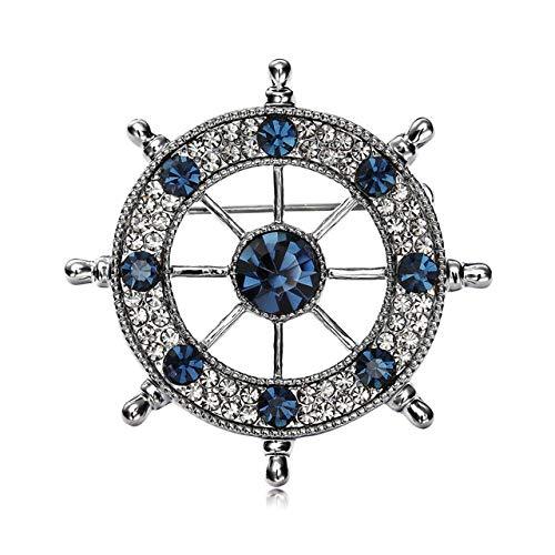 VEADK Broche de Hombre Rhinestone Azul Marino Traje de timón de velero Retro Broche Collar Aguja Traje de Hombre Insignia Pin joyería Camisa Collar joyería, Azul Gris