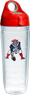 Tervis 1231133 NFL New England Patriots Legacy Tumbler with Emblem and Red with Gray Lid 24oz Water Bottle, Clear