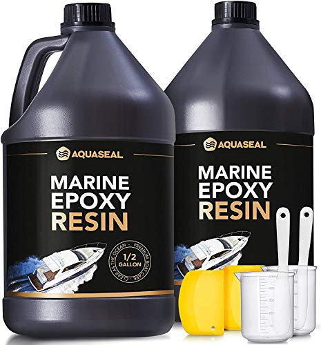 Aquaseal Table Top Epoxy Resin Epoxy - Bar Top Epoxy Clear Epoxy Resin Countertop Epoxy Marine Epoxy Resin Epoxy Countertop Kit Epoxy Kit 1 Gallon 2 Part Epoxy Resin Clear Adhesive Primer
