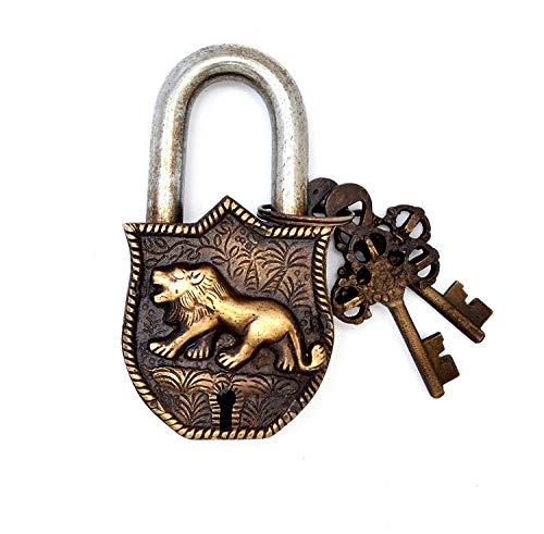 Brass Padlock Door Lock Tiger Engraved Design Fully Functional Brass Lock with 2 Keys (Antique)