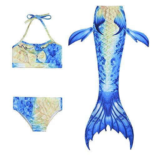 3st Meisjes Badpak Zeemeermin Staart Badmode Bikini Set Kostuum Om Te Zwemmen, Polyester Stof, Hoge Elasticiteit En Comfort, Voor Meisjes Van 2-8 Jaar
