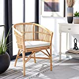Safavieh Home Collection Olivia Rattan Cushion Accent Chair, Natural/White