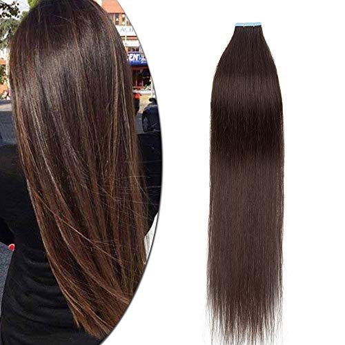 3g* 40 Pcs Extension Adhesive Naturel Maxi Volume - Rajout Cheveux Humain Bande Adhesive - Tape In Remy Hair Extensions (#2 CHATAIN FONCE, 30CM - 120g)