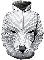 ユニセックス3Dプリントパーカー-マジックカラー3Dプリントスターウルフパーカー男性女性春秋プルオーバー原宿特大パーカースウェットシャツ (Color : A, Size : M)