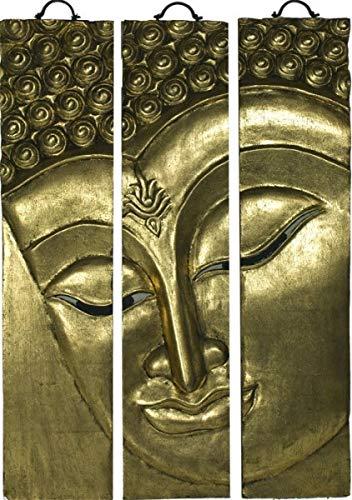 Asiatika-Online.de Buddha WANDRELIEF WANDBILD 3-TLG. MASSIVHOLZ CHINESISCHE MÖBEL China 91x60 G '6