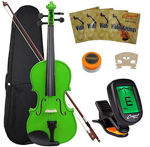 Crescent 4/4 Student Violin Starter Kit, Green Color (Includes CrescentTM Digital E-Tuner)