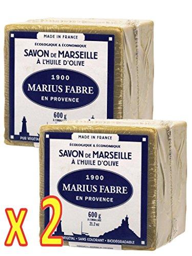 Marius Fabre - SAVON DE MARSEILLE ˆ l'Huile d'Olive Cube de 600 Gr - Lot de 2 Cubes 600 Gr