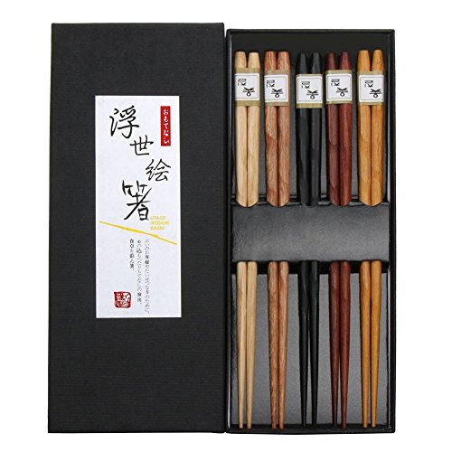 Pride Kings 5er Set Japanische Essstäbchen in 5 Bambus Holz | in Einer edlen Verpackung | Geschirr Set | Stäbchen hygienisch verpackt