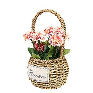 Unionm Hydrangea Artificial Flowers Spring Summer Faux Flower with Rattan Basket Floral Arrangement Potted Plants for Wedding Home Office Decoration Gift for Lover Wife Women (17#Light Pink)