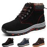 Gainsera - Zapatos de seguridad para hombre y mujer, con punta de protección de acero, Negro (Negro Invierno), 42 EU
