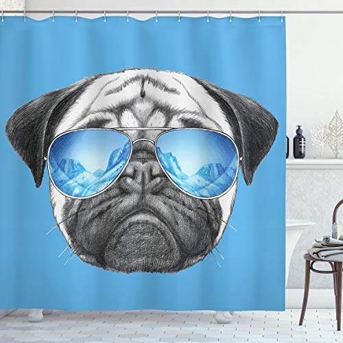 """Ambesonne Pug Shower Curtain, Pug Portrait with Mirror Sunglasses Hand Drawn Illustration of Pet Animal Funny, Cloth Fabric Bathroom Decor Set with Hooks, 70"""" Long, Pearl Blue"""
