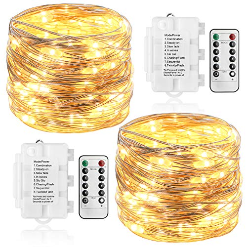 KooPower 2 Stk 100er LED Lichterkette Batterie mit Fernbedienung & Timer, 8 Modi IP65 Wasserdicht Silberdraht Lichterkette für Weihnacht, Hochzeit, Party,Garten und Haus Deko-Warmweiß