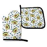 Hdadwy Manoplas para horno Guante de cocina aislado con almohadilla cuadrada resistente al calor, lindo aguacate para hacer ejercicios con mancuernas, guantes de cocina para proteger las manos y super