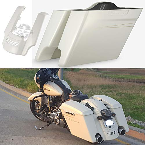 Best Price Advanblack Morocco Gold Pearl 4.5 inch Stretched Saddlebags Pale Gold Pinstripe Rear Fend...