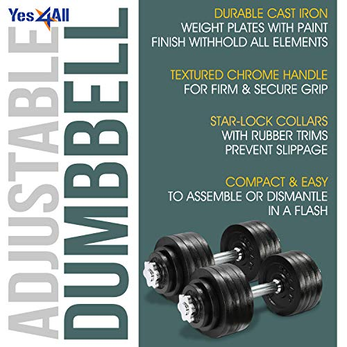 Yes4All Adjustable Dumbbells - 105 lb Dumbbell Weights (Pair)