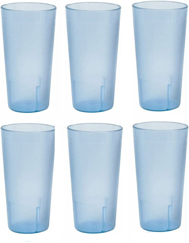 20 Ounce Restaurant Tumbler Beverage Cup Stackable Cups Break Resistant Commmerical Plastic Set Of Six Blue Plastic Glasses Tumblers Water Glasses