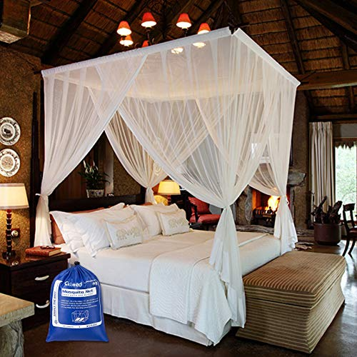 Ciaoed Mosquito Net for Bed Canopy Large XL Tent Double to King Size Camping Screen 4 Opening Outdoor Mosquito Netting with Storage Bag