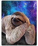 XZDPPTBLN Mantas de Franela Súper Suave de Lana Perezoso Animal Estrellado Azul Mantas con Estampados Esponjosa y Cálida Mantas para la Cama y el Sofá 150cm x 200cm
