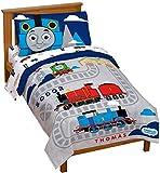 Jay Franco Thomas & Friends Rail Run 4 Piece Toddler Bed Set - Includes Comforter & Sheet Set Bedding - Super Soft Fade Resistant Microfiber (Official Mattel Product)