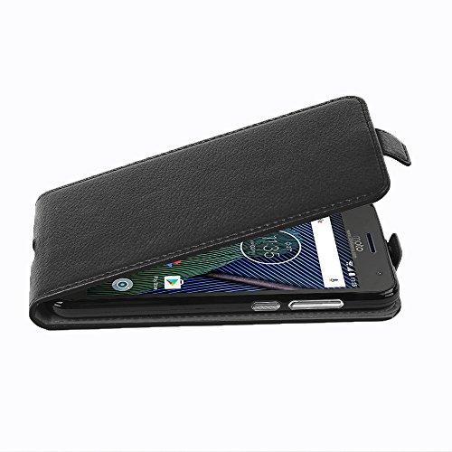 Cadorabo Hülle für Motorola Moto G5 Plus in Oxid SCHWARZ - Handyhülle im Flip Design aus Strukturiertem Kunstleder - Hülle Cover Schutzhülle Etui Tasche Book Klapp Style