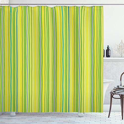 Ambesonne Lime Green Shower Curtain, Pastel Toned Vertical Bands Striped Lines Geometric Soft Print, Cloth Fabric Bathroom Decor Set with Hooks, 70' Long, Yellow Green