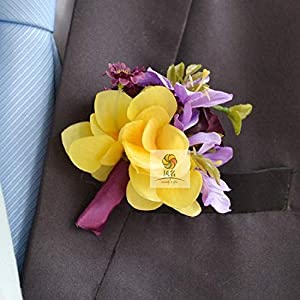 Artificial and Dried Flower Branches Mix Colors Corsage Pin Groom Anemone Groomsman Party Prom Wedding Flowers Wedding Boutonniere Yellow Purple