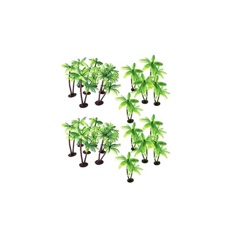 silk flower arrangements heallily 24pcs plastic coconut palm tree miniature plant pots bonsai mini coconut tree decor artificial plant decoration craft micro landscape for aquarium home office store green