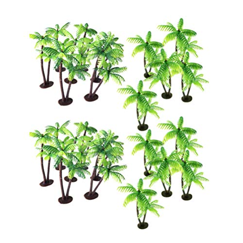 HEALLILY 24pcs Plastic Coconut Palm Tree Miniature Plant Pots Bonsai Mini Coconut Tree Decor Artificial Plant Decoration Craft Micro Landscape for Aquarium Home Office Store Green