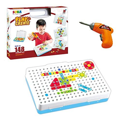 SOKA Electric Drill Puzzle Toy for 3 4 5 6 Years Old Kids, Construction Toys Drill Creative Educational Gifts Tool Kit Building Blocks Fine Motor Skills Activity Centre for Children