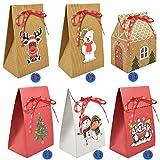 Voqeen 6-12 Pezzi Scatole Regalo Natale Carta Kraft Sacchettini di Carta Confezione Regalo Piegata Regali Piegata Riutilizzabili Forma della Casa Decorazioni per Biscotti Alimentari